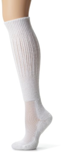 Thorlo Women's Moderate Cushion Fitness Slouch Sock, White, Medium/11 Ladies 6.5-10
