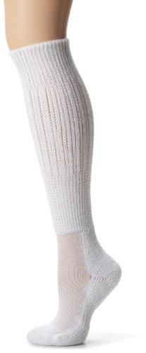 Thorlo Women's Moderate Cushion Fitness Slouch Sock, White, Sock Size Medium/11