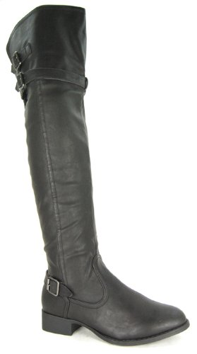 Womens Flat Round Toe Over the Knee High Riding Boot Ladies Belt & Buckle Long Leg Thigh Size 3 4 5 6 7 8
