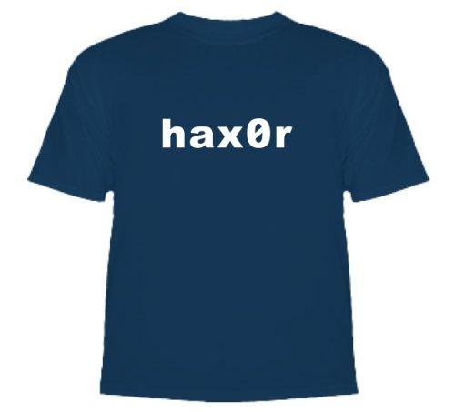 Haxor Computer Nerd Gaming T-Shirt T-Shirt Denim Blue Large
