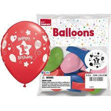 "Happy 1st Birthday 12"" Balloons, 8pk-Way to Celebrate-34500"