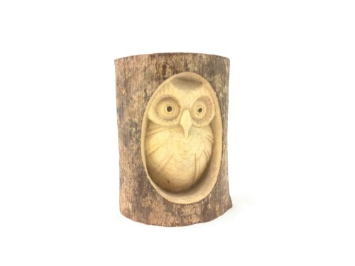 Timber-Treasures Hand Carved Owl in Log - Medium