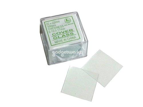 Gadgetworkz 100Pcs Square Microscope Slides Cover Slips 22Mmx22Mm