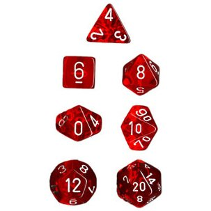 Polyhedral 7-Die Translucent Chessex Dice Set - Red - 1