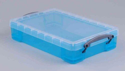 REALLY USE BOX Boîte plastique 4 L transparent bleu, recyclé, couvercle amovible