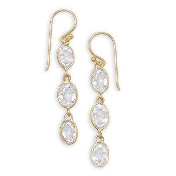 14 Karat Gold Plated CZ Earrings