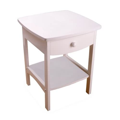 Winsome Wood End Table/Night Stand Contemporary with Drawer and Shelf, White