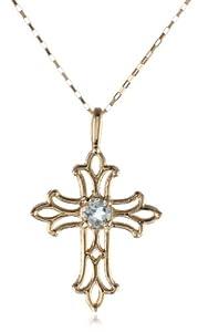 10k Yellow Gold Filigree Cross Pendant Necklace with Aquamarine