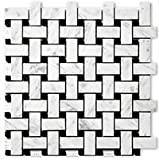 Carrara (Carrera) Bianco Polished 1x2 Basketweave Mosaic Tile