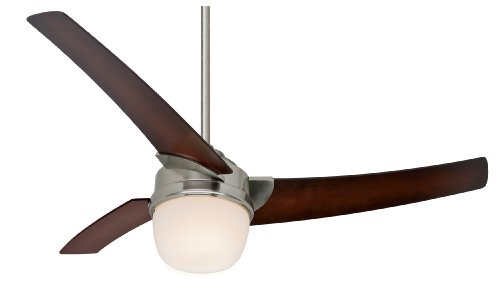 Hunter 21806 Eurus 54-Inch Single Light 3-Blade Ceiling Fan with Remote Control, Brushed Nickel with Coffee Beech Blades and Frosted Glass Light Bowl