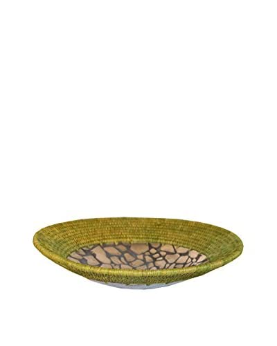 Asian Loft Beige Grass Wicker and Polished Aluminum Swaziland Bowl, Silver/Brown/White/Black