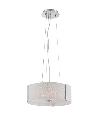 Lite Source 3-Light Patterned Pendant, Chrome/White