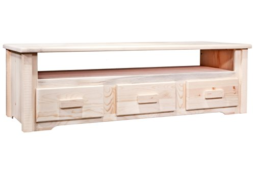 Montana Woodworks Homestead Collection Sitting Chest With Entertainment Center, Ready To Finish