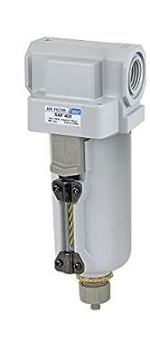 "PneumaticPlus SAF400-N04B-MEP Compressed Air Particulate Filter 1/2"" NPT, 10 Micron - Metal Bowl w/ Manual Drain, Bracket"