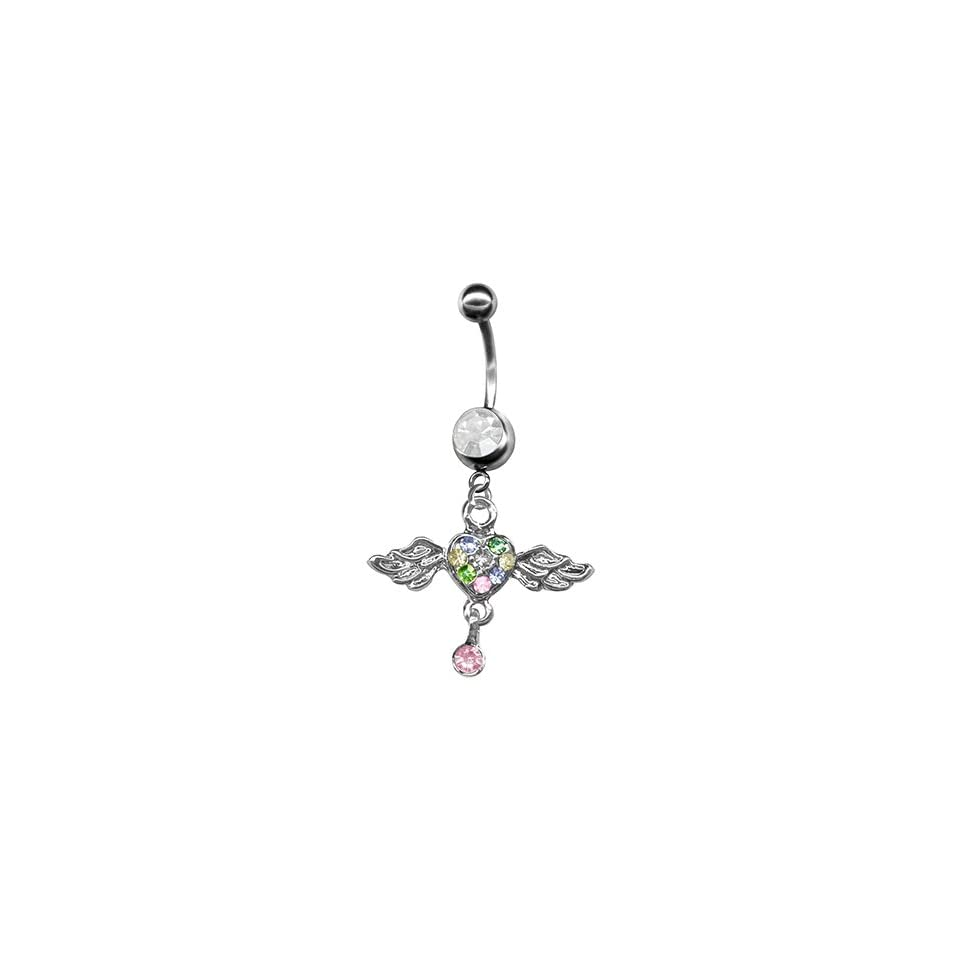 Multi Color Pave Heart Angel Wings Belly Ring Wings with Heart Dangle Belly Ring 14g Stainless Steel Navel Ring (C. 3/8 inch (10mm)) Jewelry