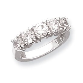 Genuine IceCarats Designer Jewelry Gift Sterling Silver 5-Stone Cz Ring Size 8.00