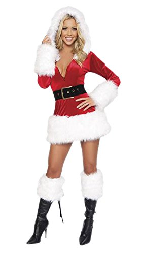 Prettycostume Women's Naughty Santa Claus Dress Christmas Outfit Costume
