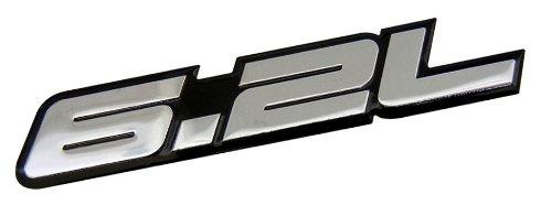 6.2L Liter In Silver On Black Highly Polished Aluminum Silver Chrome Car Truck Engine Swap Badge Nameplate Emblem For Chevy Camaro Ss Corvette Cadillac L99 Ls3 Lsa C6 Pontiac G8 Gxp V8 Vauxhall Vxr8