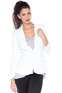 9XIS Womens Boyfriend Blazer,White,Small