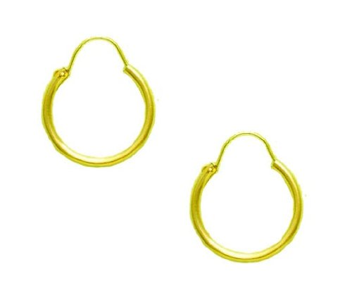 14k Yellow Gold U Wire Hoop Hoops Earrings 1.25x18mm
