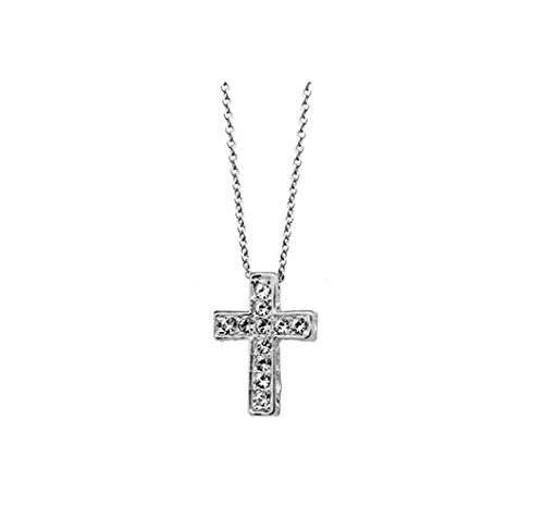 Cross With Clear Cubic Ziconia Crystal Pendant Necklace Fashion Jewelry (Platinum Plated)