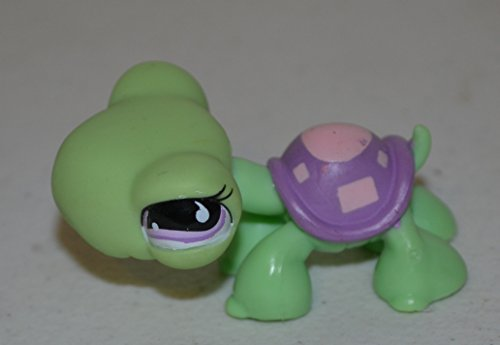 Turtle #566 (Green, Purple Eyes, Purple Shell, Pink Marks Littlest Pet Shop (Retired) Collector Toy - LPS Collectible Replacement Single Figure - Loose (Oop Out of Package & Print) - 1