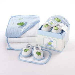 Baby Aspen 4-Piece Bathtime Gift Set, 0-12 Months, Finley the Frog (Discontinued by Manufacturer) - 1