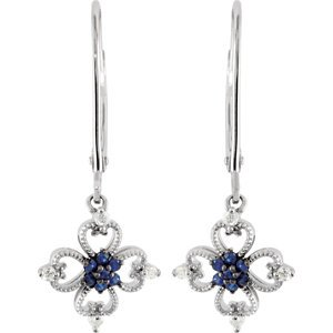 Genuine IceCarats Designer Jewelry Gift Sterling Silver Genuine Blue Sapphire And Diamond Earrings. 1/10 Cttw Pair Genuine Blue Sapphire And Diamond Earrings In Sterling Silver