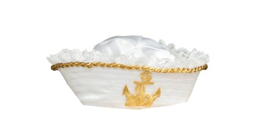 Rubie's Costume Womens Mini Sailor Hat With Gold Anchor, White/Gold, One Size