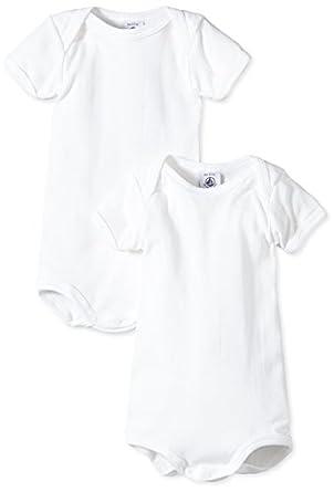 Petit Bateau - Body - Manches Courtes - Lot de 2 - Mixte Bébé - Blanc (Ecume) - FR : 12 mois (Taille Fabricant : 12 mois)