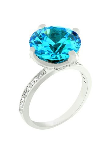 White Gold Rhodium Bonded Channel Set Small Round Cut Clear CZ Accent the Band and Solitaire Prong Set Round Cut Aqua CZ is Centerpiece in Silvertone - Rhodium - Shiny Ring
