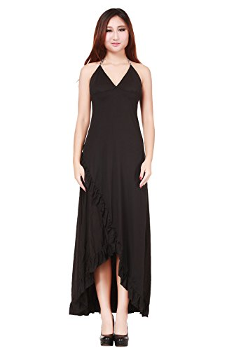 Womens Sexy V Neck Straps Maxi Dress Night Gown with G-string