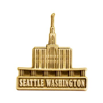 LDS Mens Seattle Washington Temple Gold Steel Tie Tac / Tie Pin for Boys