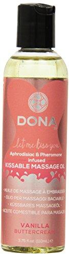 System Jo Dona Kissable Massage Oil, Vanilla Buttercream, 3.75 Ounce