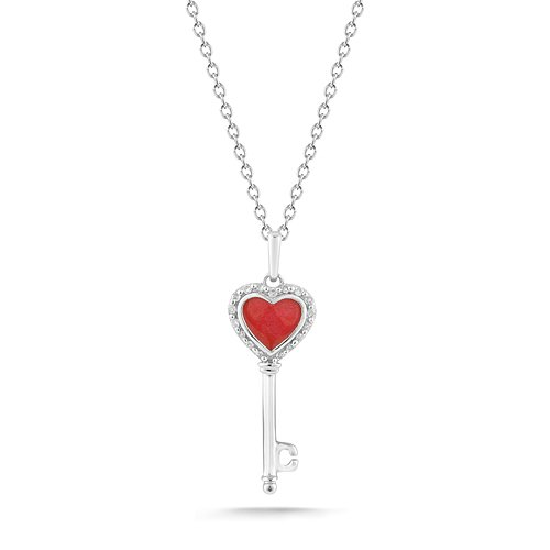 Sterling Silver Red Enamel Heart and Key with Diamonds Pendant Necklace (0.05 cttw, I-J Color, I2-I3 Clarity), 18