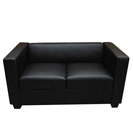 Serie Lille M65 divano sofa 2 posti 70x75x137cm ~ nero pelle