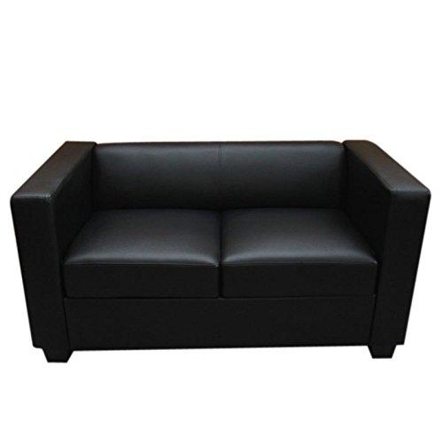 2er-Sofa-Couch-Loungesofa-Lille-Leder-schwarz