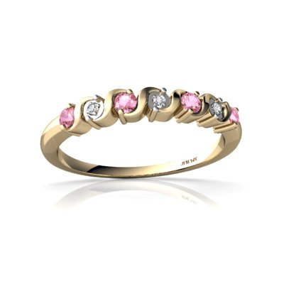 Created Pink Sapphire 14ct Yellow Gold Ring