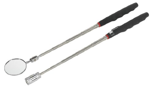 Sealey Telescopic Magnetic Led Pick-Up Tool & Inspection Mirror Set 2Pc S0941