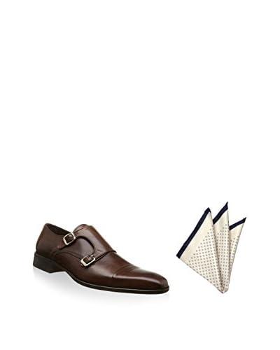 Ortiz & Reed Zapatos monkstrap + Pañuelo de bolsillo SET-ZCP16-PO2 Marrón