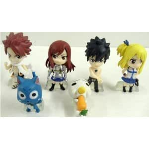 Fairy Tail 6 Piece Figure Set Featuring Natsu Dragneel, Happy, Ezra Scarlet, Gray Fullbuster, Lucy Heartfilia, and Pue (A.K.A. Nokora) Figures