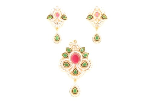 Fashion Balika Fashion Jewelry Gold-Plated Pendant Set For Women Multi-Colour-BFJER121 (Multicolor)