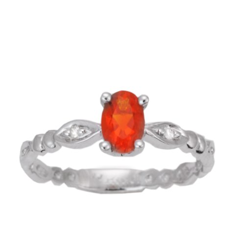 10K White Gold Fire Opal Exotic Gemstone and Diamond Navette Style Ring, Size 7