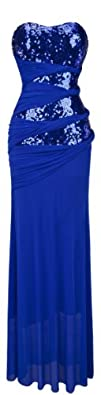 Angel-fashions Women's Strapless Blue…