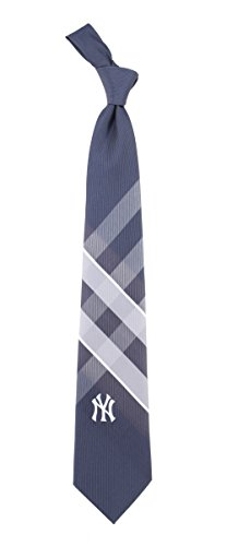 NY New York Yankees Grid Neck Tie with MLB Baseball Sports Team Logo (New York Yankee Tie compare prices)