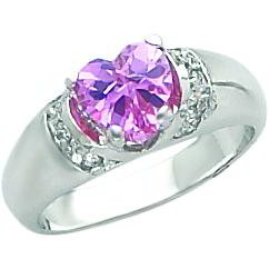 Sterling Silver Cubic Zirconia Heart Promise Ring Sz 7