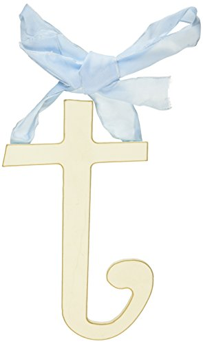 New Arrivals Wooden Letter T with Blue Solid Ribbon, Cream