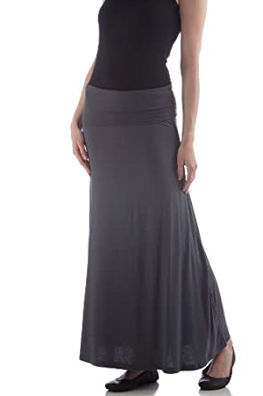 SFL830 X-Large Slate BambooDreams Maxi Skirt. Foldover waist.