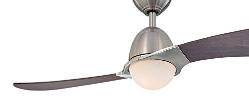 Westinghouse 7216140 - Ventilatore da soffitto Solana con lampada tonda in vetro opaco, 2 x 40 W E14, con telecomando e funzionamento estate/inverno, in nichel satinato, ø 122 cm