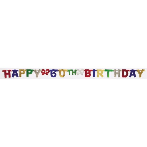 Creative Converting Party Decoration Jointed Banner, Happy 60th Birthday, 6-Feet